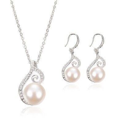 Fashion Women Wedding Party Rhinestone Pearl Necklace Earrings Jewelry Set Gift