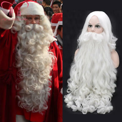 2019 Santa Claus Wig Beard Christmas Party Dress White Curly Hair Adult Cosplay@](White Beard Wig)