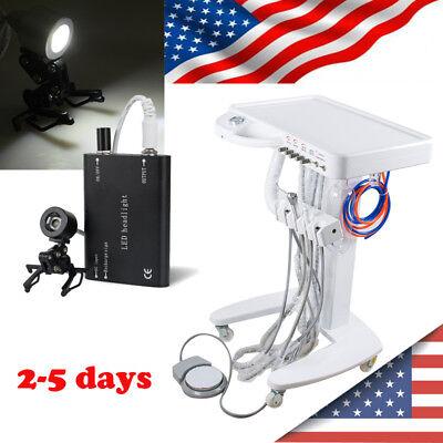 Dental Delivery Unit Mobile Cart Lab Equipment Syringe Handpiece Tube Head Light