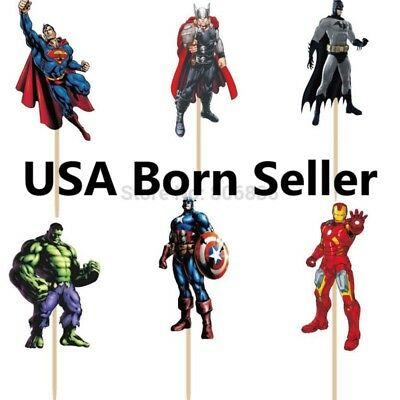 Batman Cupcake Picks (12 Pieces Cupcake Topper Cake Picks AVENGERS Hulk Iron Man Thor Batman)