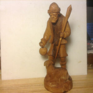 Imperial Russian Time Wooden Sculpture of Peasant Man .