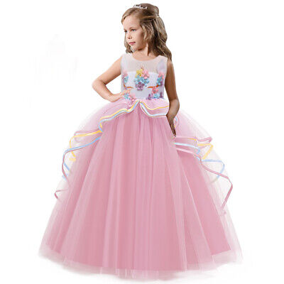 Childrens Wedding Dress Costume (Unicorn Dress for Girl Kids Flower Layered Costume Children Prom Wedding)