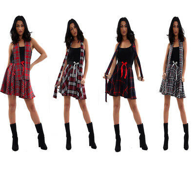 Ladies Women Tartan Circular Mini Elasticated Bow Skirt With Matching Scarf- - Kostüm Matching