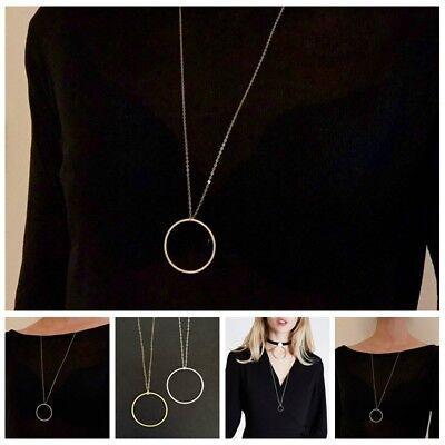 Long Chain Pendant Necklace Gold Round Delicate Thin Circle Minimalist Geometric - Gold Circular Pendant