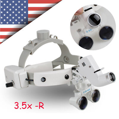 Us Dental Binocular Loupes Surgical Glass Magnifier Led Headlight 3.5x Optical