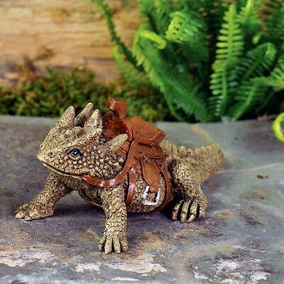 Miniature Garden Horned Toad Lizard  SPIKE  w/Saddle / Dollhouse Fairy 17239