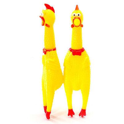 Gelb Schreien Gummi-Huhn Hund Spielzeug Squeak Quietsche Spielzeug-Kauen Tool