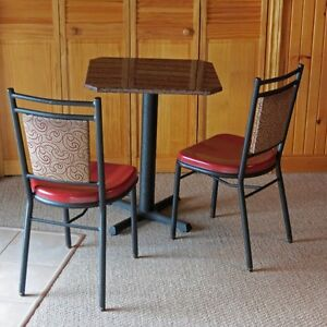 Bistro granite-topped table and two chairs