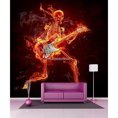 Aufkleber Riesig Deko Skelett mit Seine Gitarre ( Geige - C'Est Un Violon) 11078