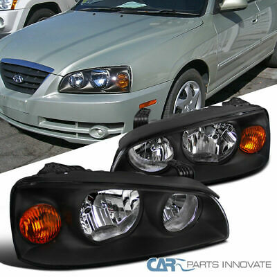 For 2004-2006 Hyundai Elantra Black Clear Headlights Amber Corner Lamps Pair