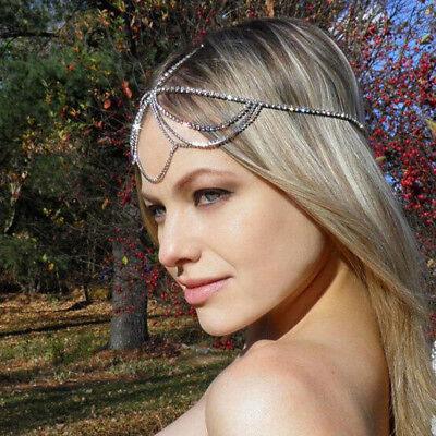 Women Bohemia Tassel Chain Jewelry Rhinestone Muti Layers Hair Chain Head Band](Head Chain Jewelry)