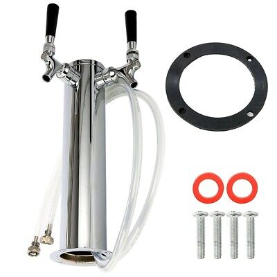 Beer Tower Polished Stainless Steel Tower 2 Faucet Taps Chrome Plated Brass 3