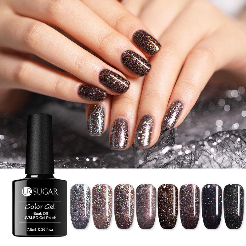 UR SUGAR 7.5ml Gel Polish Dark Brown Holographic Glitter UV