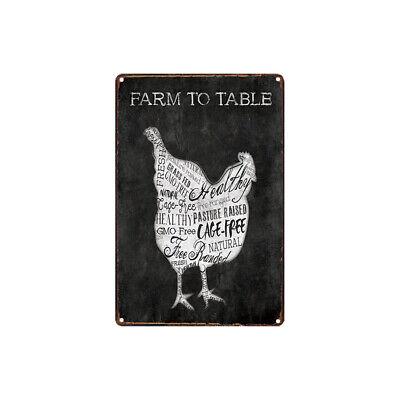 Decorative Metal Pub Table - Metal Tin Sign FARM TO TABLE chicken  Decor Bar Pub Home Vintage Retro