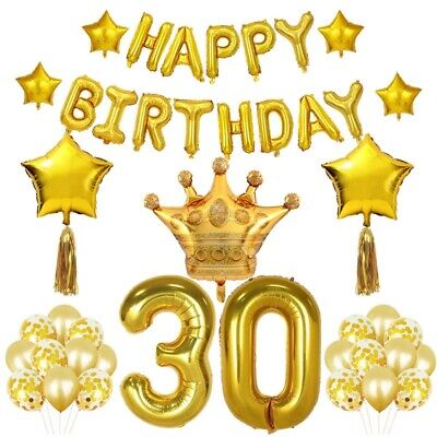 30th Birthday Decor (30th Birthday Party Decorations KIT Happy Birthday Banner Gold Number Balloon)