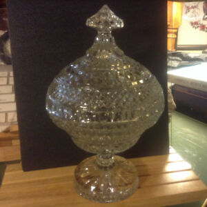 "Antique Crystal Gallia 10 1/4"" Candy Dish with Lid Crystal Compo"