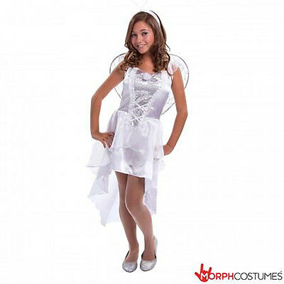 Girls TEEN White Angel Fancy Dress Costume incl Wings & Halo Tween 12 - 18 - Teen Halo Kostüm