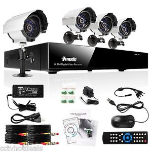 ZMODO 4CH Channel DVR Recorder Home Surveillance Security IR Camera System NO HD