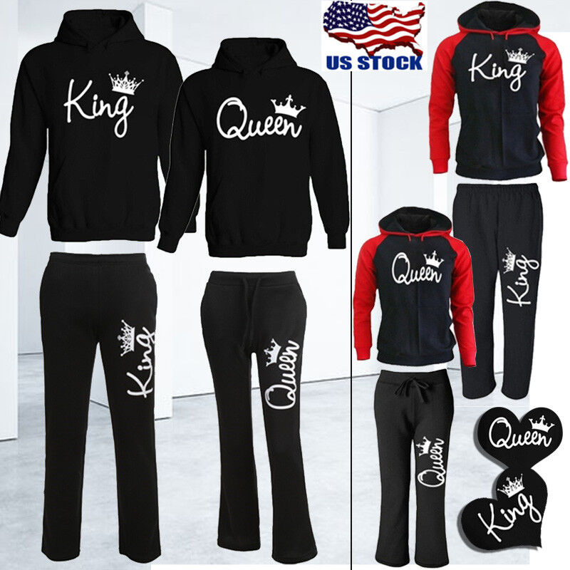King Queen Crown Hoodies Pants Trousers Valentine Love Coupl