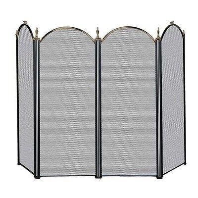 Uniflame 4 FOLD ANTIQUE BRASS/BLACK SCREEN (S-5118) S41010AK Fireplace Screens