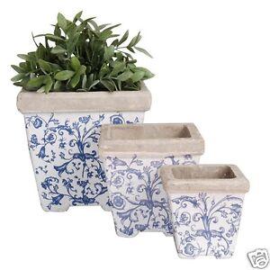 Blumentopf 3er Set Übertopf Blau  Aged Keramik AC 01