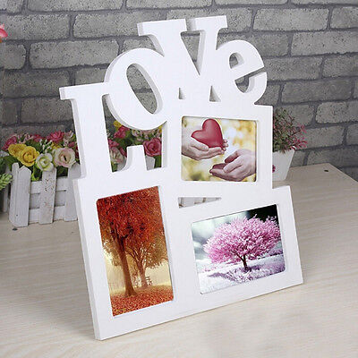 New DIY Durable Hollow Love Wooden Photo Picture Frame Rahmen Home Decor HK