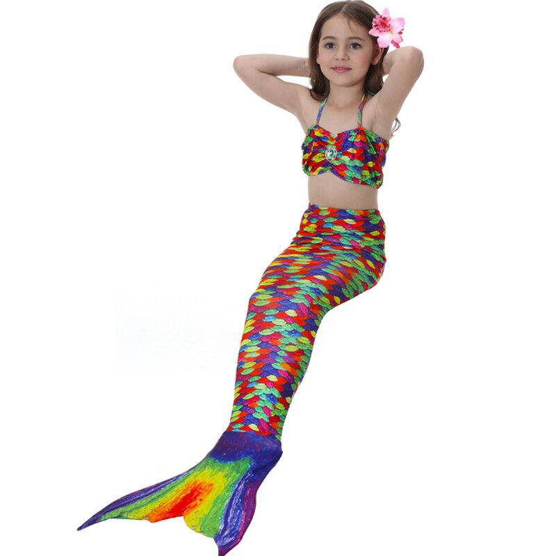 Kinder Meerjungfrau Kostüm Mädchen Bademode Badeanzug Cosplay Sommer Bikini Set Multi