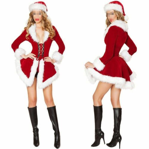 Sexy Ladies Santa Outfit Mrs Claus Costume Christmas Party F