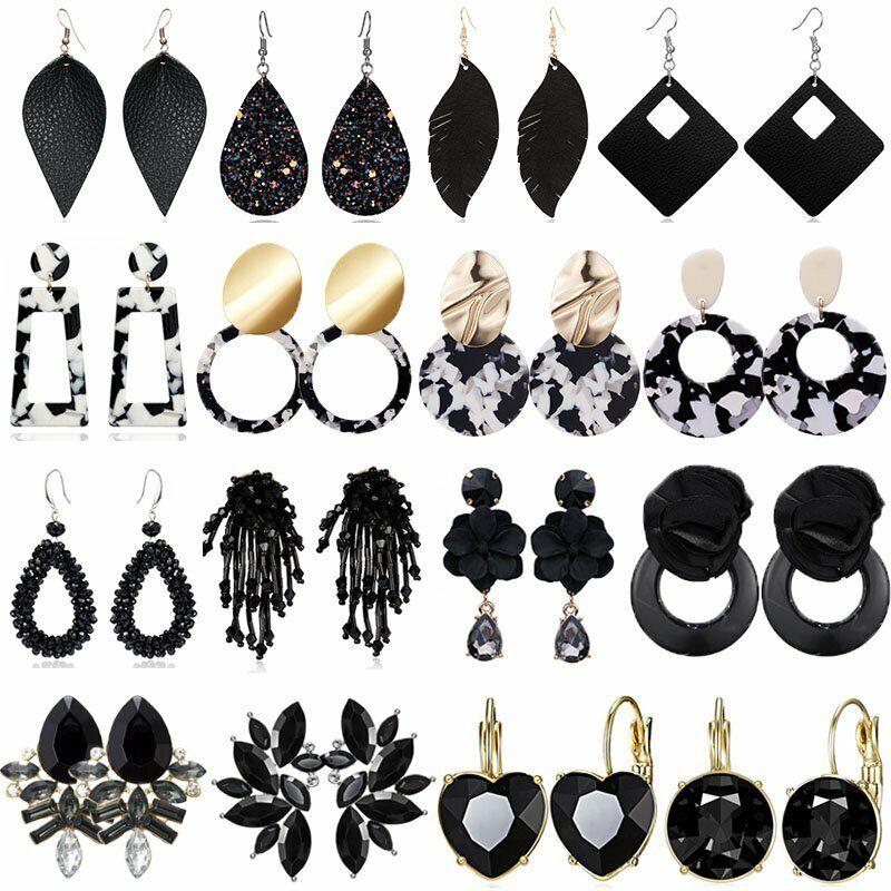Women Handmade Black Resin Crystal Earrings Tassel Drop Dang