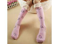 Pink floral knee socks x 2 pairs (BRAND NEW)