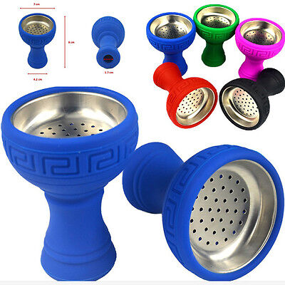 (Silicone Hookah Bowl Silicon+Stainless Steel Head Holder Smoke Accessories Sale)