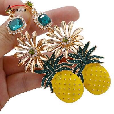 New Girl Pineapple Earring Rhinestone Crystal Flower Pendant Drop Earrings - Crystal Drop Pendant