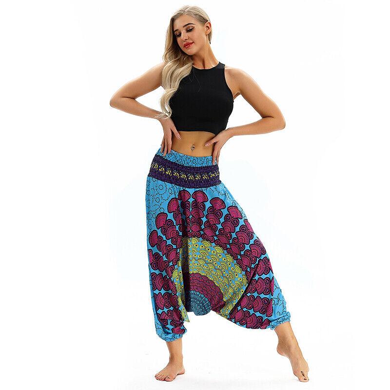 Women Boho Harem Pants Casual Aladdin Yoga Gypsy Loose Wide Leg Palazzo Trousers Clothing, Shoes & Accessories