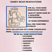 HANDY BEAR RENOVATIONS QUALITY WORK BY A QUALIFIED PROFFESSIONAL