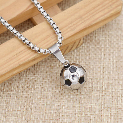 Football Necklace Soccer Sports Style Charm Jewelry Stainless Steel Chain Gift](Football Necklaces)
