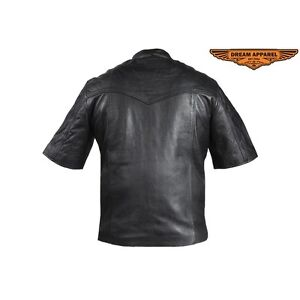 Mens Light Weight Leather Shirt With Short Sleeves Edmonton Edmonton Area image 4