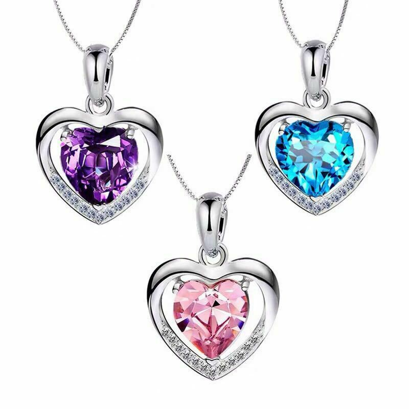 Jewellery - 925 Sterling Silver Heart Crystal Stone Pendant Chain Necklace Womens Jewellery