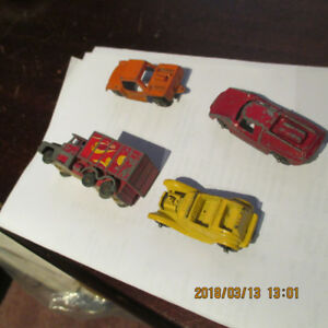4 older small metal vehicles Truck, Roadster, Runabout & Fiat
