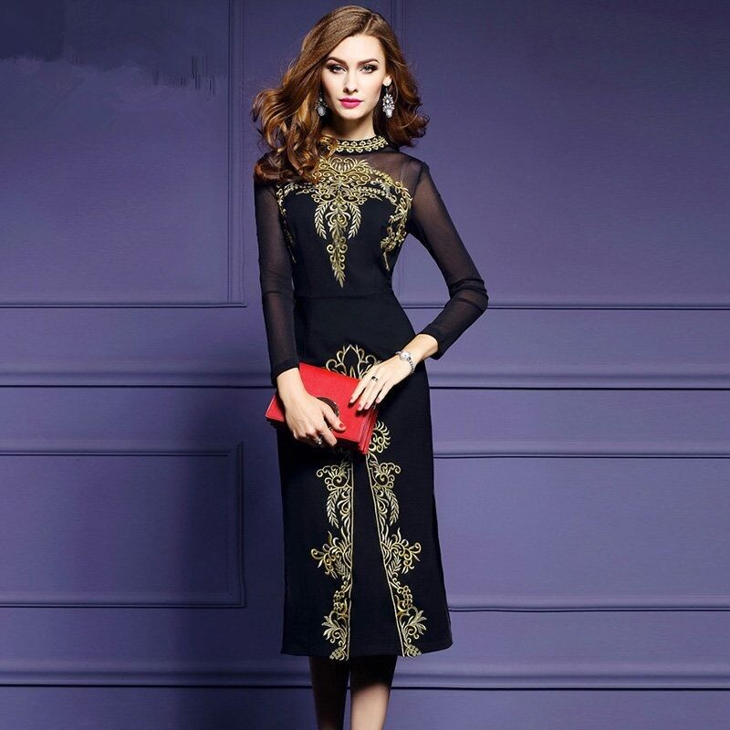 Купить Unbranded - Elegant Women High-end Embroidery Skirts Long Sleeve Mesh Furcal Slim Sexy Dress