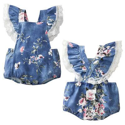 Newborn Kids Baby Girl Infant Clothes Romper Floral Jumpsuit