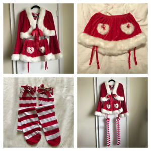SEXY VELVET 'MRS. SANTA' OUTFIT WITH STRIPED STOCKINGS - NEW