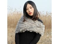 DAYMISFURRY--Real Rabbit Fur Knit Snood -Natural Grey