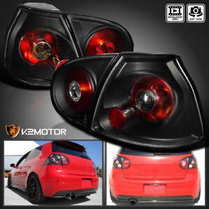 Fits 2006-2009 VW Golf/GTI/R32 MK5 Black Tail Lights Rear Brake Lamps Left+Right