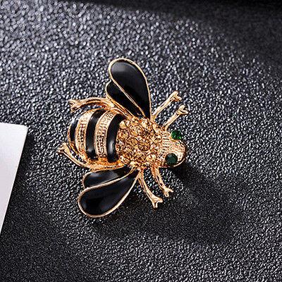 Mode Frauen zarte kleine Biene Kristall Strass Pin Brosche Geschenk schwarz