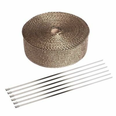 Exhaust Manifolds Titanium Heat Wrap Tape Thermal Wrap Black 2'' X 5M & 6 Ties