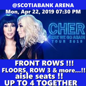 CHER @ACC –AMAZING FRONT ROW  STAGE FLOOR TICKETS & MORE!!!