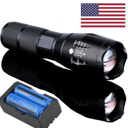 Lot 90000LM 5 Modes LED Flashlight Zoomable 18650 Rechargeable Focus Torch Light