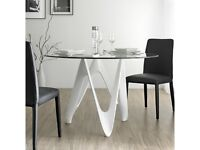 Angel Cerda Dining Table Architectural Artistic 1100mm glass top fibre glass base trendy £450 o.n.o