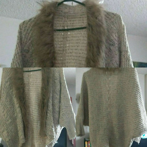 Brown Batwing Cardigan with Faux Fur Collar -$15