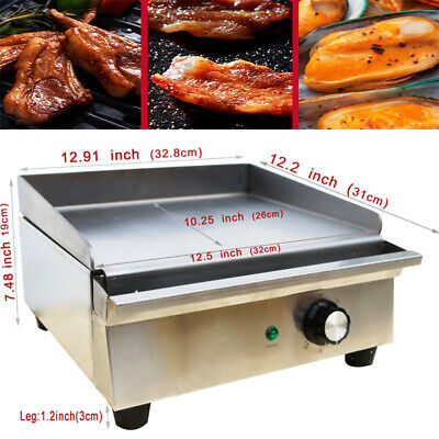 Electric Countertop Griddle 1.2kw Restaurant Kitchen Flat Top Grill Bbq Cooker
